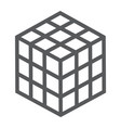 math cube line icon block and geometric vector image vector image