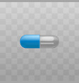 medical drug blue and transparent capsules vector image vector image