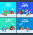 merry christmas greeting text posters set vector image vector image