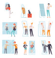narcissistic people characters looking at mirror vector image vector image