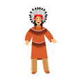 native american indian in traditional costume and vector image vector image