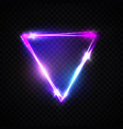 neon sign triangle background electric glow frame vector image