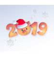new year numbers with cute piggy vector image
