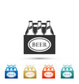 pack of beer bottles icon on white background vector image vector image