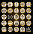 retro labels and badges gold and silver vector image vector image