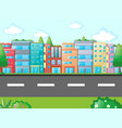 scene with many buildings along the road vector image vector image