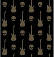 seamless background with skulls and guitars vector image vector image
