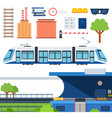 set metro railway platform and tram flat vector image