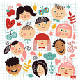 set of funny kids vector image