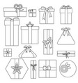 set of outline gifts for the holiday vector image vector image