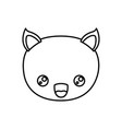sketch silhouette of kawaii caricature face cat vector image