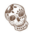 skull with flower monochrome sketch outline vector image