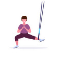 sporty woman doing squats exercises with vector image vector image