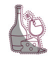 sticker line glass splashing wine and bottle and vector image vector image