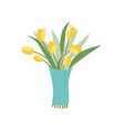 yellow tulip in blue wrapping flowers composition vector image