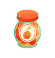 peach jam in glass jar with lid homemade fruit vector image