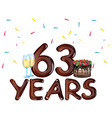 63 years anniversary celebration card vector image