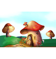 A mushroom house at the top of the hill vector image vector image