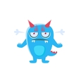 Angry Blue Monster With Horns And Spiky Tail vector image