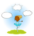 ballet girl with speech balloon vector image vector image