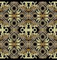 baroque gold 3d seamless pattern greek vintage vector image