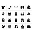 black fashion and clothing and accessories icons vector image