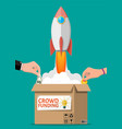cardboard box space rocket and hands with money vector image vector image