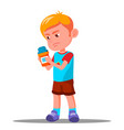 child holding medicine in his hand health vector image vector image