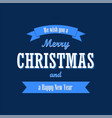 christmas text blue ribbon merry vector image