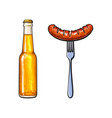 cold beer and grilled barbequed sausage on fork vector image vector image