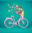colorful retro bicycle with basket vector image