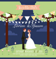 couple wedding holding hands in park save the date vector image