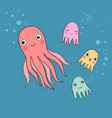 cute funny cartoon octopuses sea life vector image