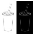 disposable cup with drinking straw black and vector image vector image
