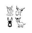 donkey cute animal cartoon character vector image vector image
