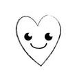 figure nice smile heart kawaii cartoon vector image vector image