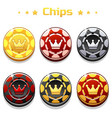 Golden black and red poker chips on the
