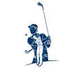 group golf players golfer action cartoon sport vector image