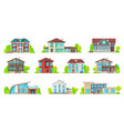 houses and mansion real estate building icons vector image