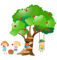 kids picking out apples from tree vector image