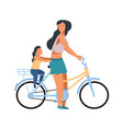 mother and child on bike woman riding on bicycle vector image