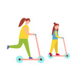 mother and daughter riding scooters vector image vector image
