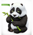 panda bear cartoon character funny animal 3d icon vector image