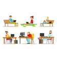 people using laptop computers set young men and vector image vector image