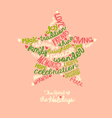 pink holiday star word cloud greeting card vector image vector image