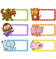 Polkadot labels with cute animals vector image vector image