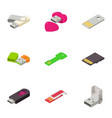 portable disk icons set isometric style vector image vector image
