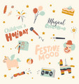 set children holiday birthday party icons vector image