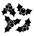 set christmas holly leaves vector image