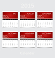 Simple 2015 year calendar July August September vector image vector image
